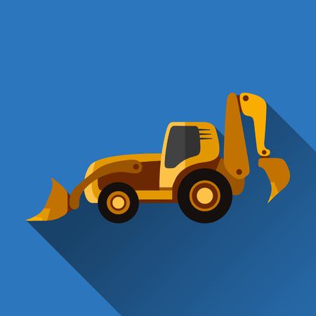 dredge to dig: Classic backhoe loader flat style icon with shadow