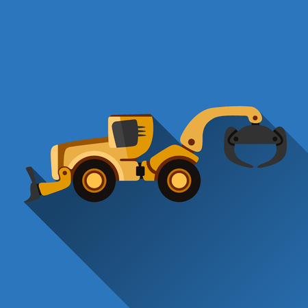 grader: Classic skidder flat style icon with shadow