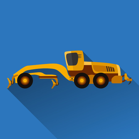 earth mover: Classic motor grader flat style icon with shadow