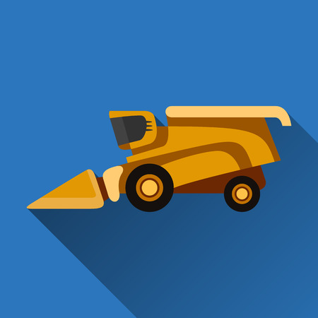 agricultural engineering: Classic combine harvester flat icon with shadow
