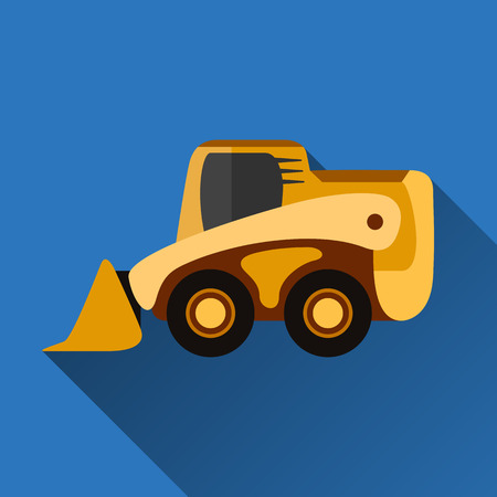 Classic skid loader flat style icon with shadow Illustration