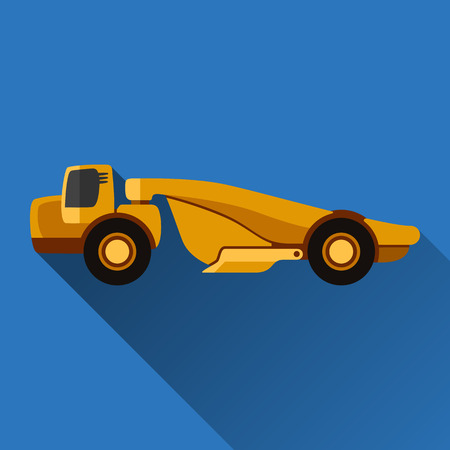 earth mover: Classic wheel tractor-scraper flat style icon with shadow