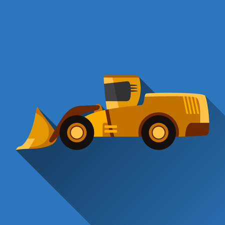 wheel loader: Classic wheel loader flat style icon with shadow