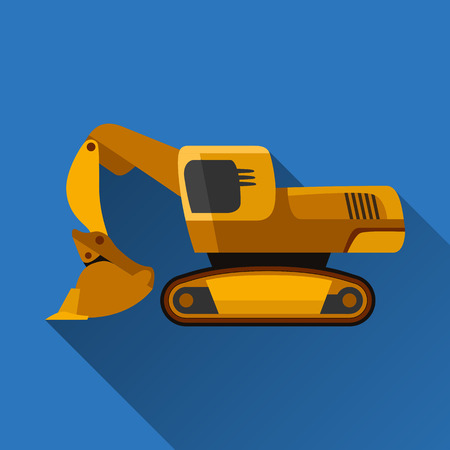 earth mover: Classic front shovel excavator flat style icon with shadow