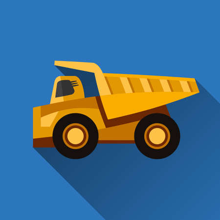 earth mover: Classic dump truck flat style icon with shadow Illustration