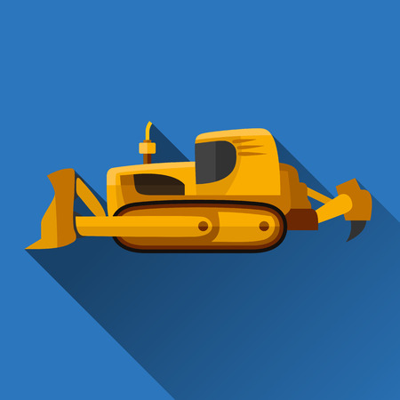 earth mover: Classic bulldozer flat style icon with shadow