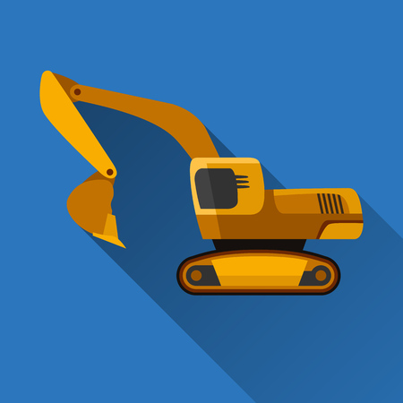 earth mover: Classic excavator flat style icon with shadow