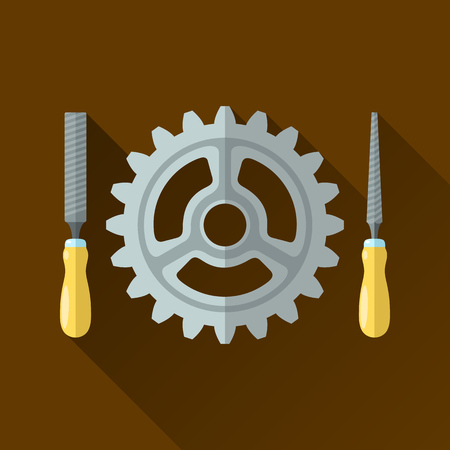 locksmith: Vector illustration of file hand tools and gear. Flat icon with long shadow