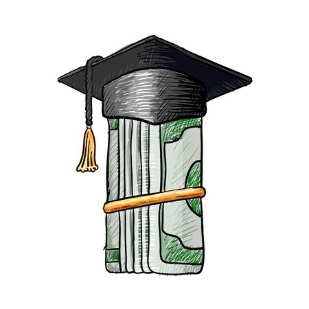 money roll: Graduation cap on roll of money. Sketch vector isolated illustration