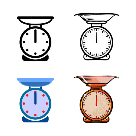 Set of weighing kitchen scale icon vector isolated illustration. Black and white, color and hand drawing style