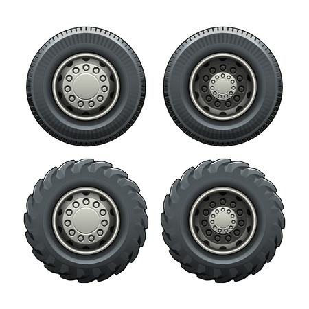 Tire for truck side view. Vector isolated illustration. Easy to recolor Vettoriali
