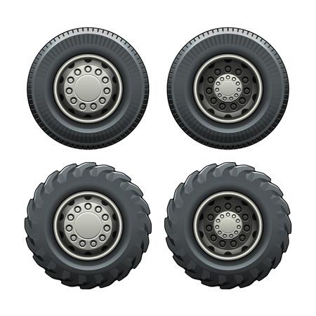 llantas: Tire de la vista lateral del camión. Ilustración vectorial aislado. Fácil de cambiar el color