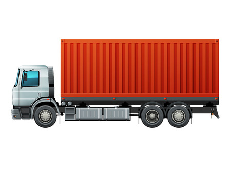 Truck with white cab delivery goods in red container. Easy to recolor cab, tires and parts. Vector illustration