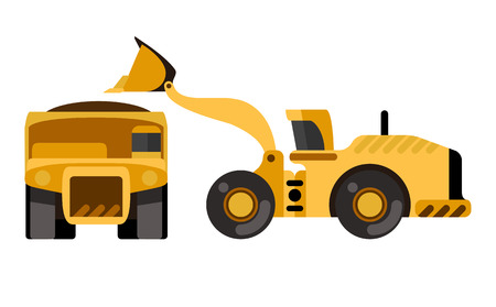 earth mover: Mining dump truck loading by wheel loader. Flat style icon. Isolated vector illustration
