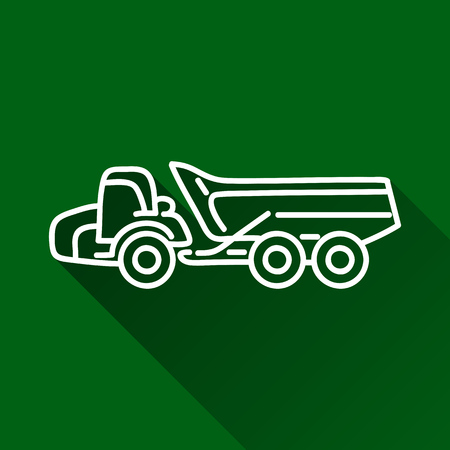 earth mover: Articulated dump truck modern design line flat style icon with shadow