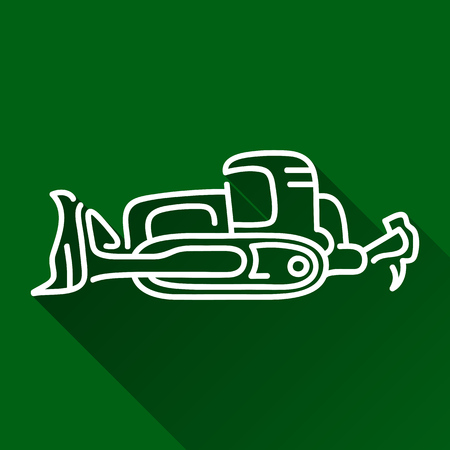 construction dozer: Classic bulldozer modern design line flat style icon with shadow Illustration