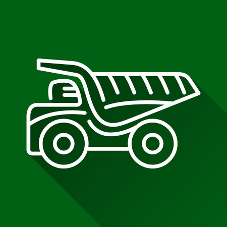 earth mover: Classic dump truck modern design line flat style icon with shadow Illustration