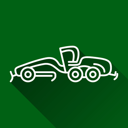 grader: Classic motor grader modern design line flat style icon with shadow