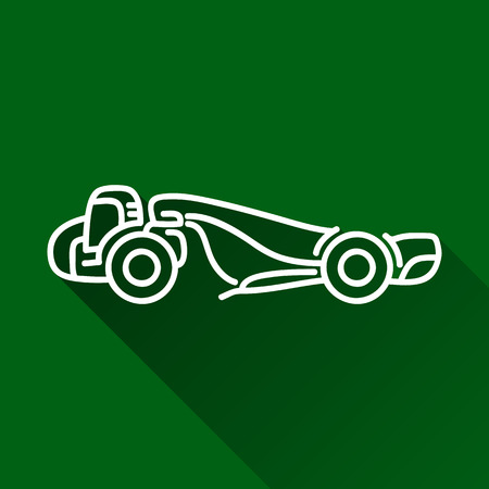 earth mover: Classic wheel tractor-scraper modern design line flat style icon with shadow Illustration