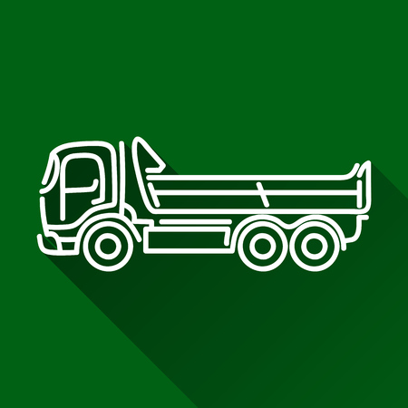 earth mover: Lorry tipper dump truck modern outline flat icon with shadow Illustration