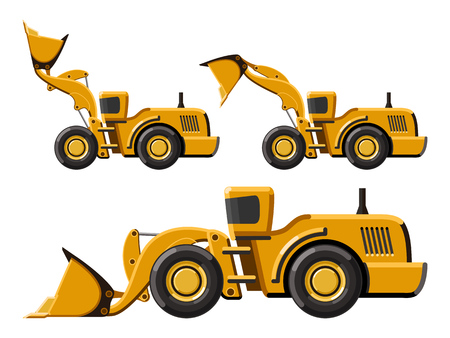 wheel loader: Classic wheel loader set. Flat style icon. Isolated vector illustration without gradients
