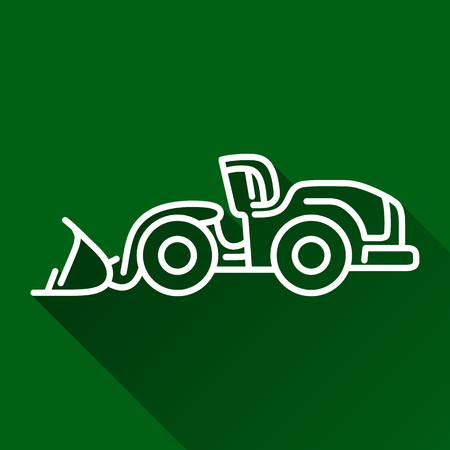 construction dozer: Classic wheel loader modern design line  flat style icon with shadow