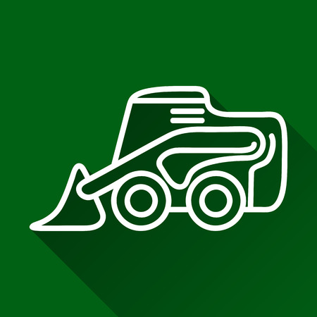 skid: Classic skid loader modern design line flat style icon with long shadow