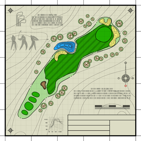 golf field: Golf course layout. Abstract design stylized blueprint technical drawing background