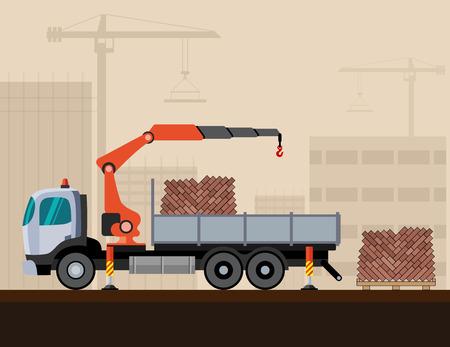mobile crane: Crane truck loading a pack of bricks on construction background. Side view mobile crane truck vector illustration