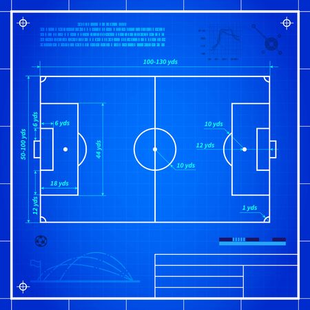 football pitch: Soccer or football field measurements. Blueprint technical drawing vector background
