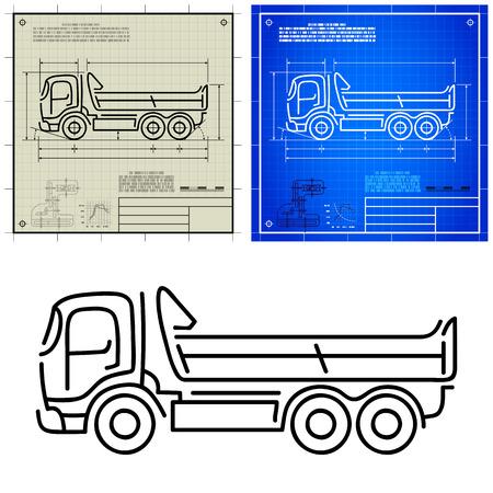 gear box: Lorry tipper dump truck modern outline stylized blueprint technical drawing