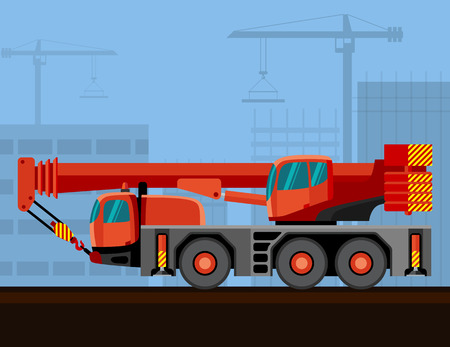 Crane mounted on truck with construction background. Side view mobile crane vector illustration
