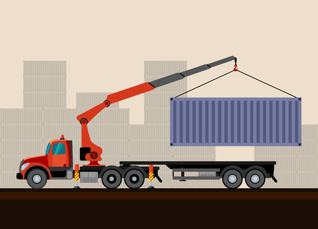Crane truck loading container cargo box on trailer. Side view mobile crane truck vector illustration