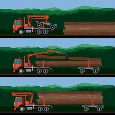 idraulico: Camion con gru braccio idraulico di carico accede rimorchio dolly sulla foresta sfondo. Illustrazione vettoriale