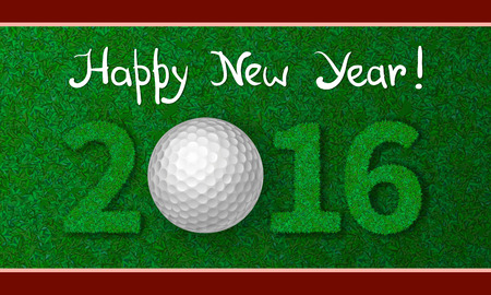 red ball: Golf ball on grass with numbers of new year 2016. Greeting card with grass background