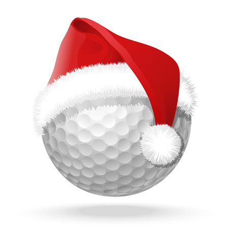 Blanc balle de golf et de Santa chapeau rouge sur elle. Isolated illustration de vecteur avec l'ombre de la lumière sous la balle de golf