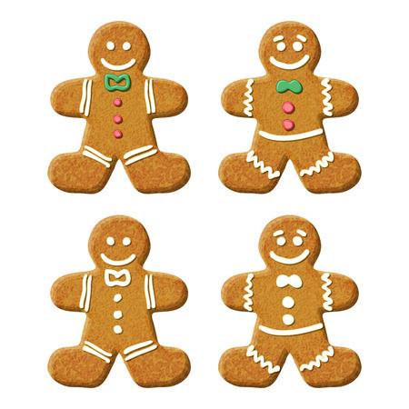 ジンジャーブレッド人の休日の甘いクッキー。  イラスト・ベクター素材