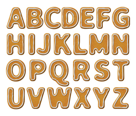 white letters: Christmas or New Year alphabet cookies set with glaze vector illustration. Isolated textured letters on white background.