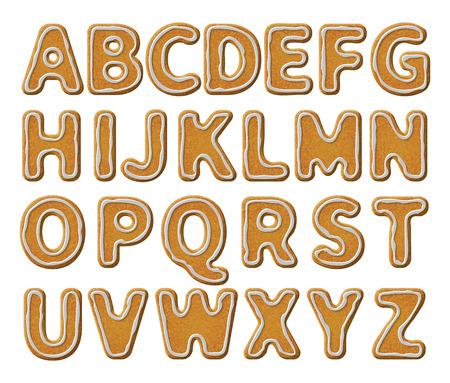 harina: Navidad o Año Nuevo Galletas alfabeto establecen con la ilustración vectorial esmalte. Cartas textura aislados sobre fondo blanco.