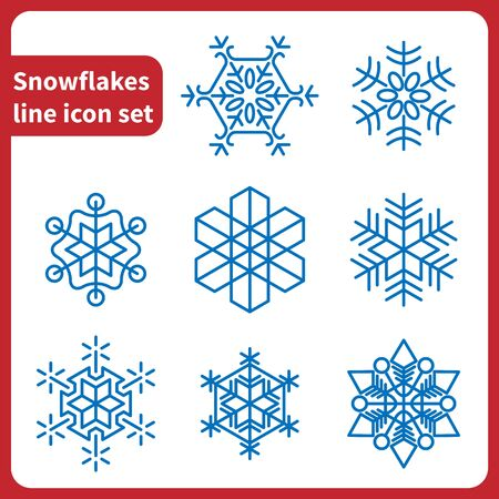 decoration elements: Snowflakes line icon set vector isolated
