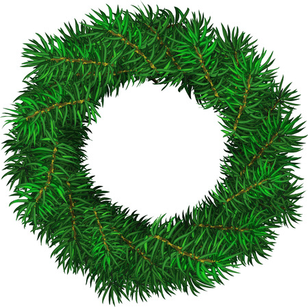 Simple evergreen holiday wreath in circular shape. Vector isolated illustration