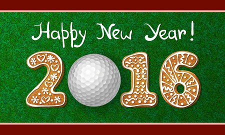 golf tee: Golf ball on grass with numbers of gingerbread cookies of new year 2016. Greeting card with grass background