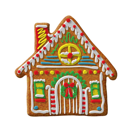 Gingerbread house cookie vector isolated illustration on white background