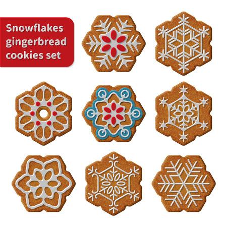 galletas de navidad: Galletas de copos de nieve del pan de jengibre establecer ilustraci�n vectorial aislado sobre fondo blanco