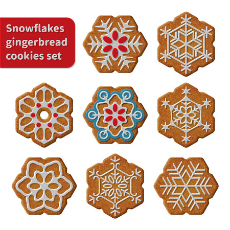 christmas cookie: Gingerbread snowflakes cookies set vector isolated illustration on white background
