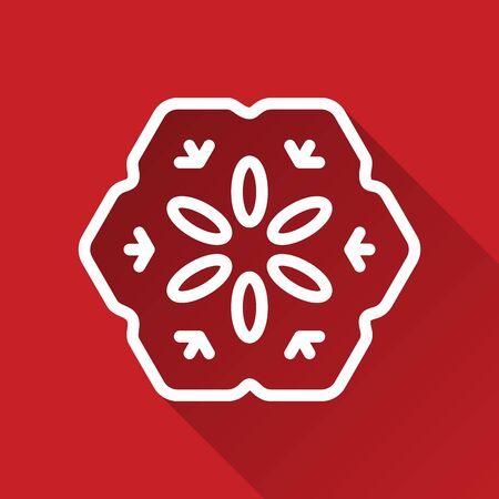 vacanza: Fiocco di neve di Natale di stile moderno icona linea bianca con ombra su sfondo rosso Vettoriali