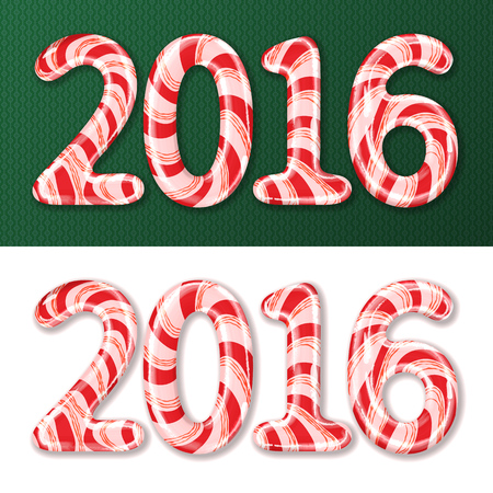 candy stick: Candy cane numbers of 2016 new year holiday on green decorated pattern and white background. Vector isolated illustration