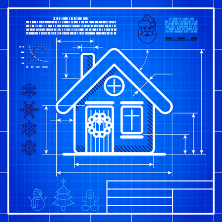 Christmas symbol stylized blueprint technical drawing. White symbol on blue grid background