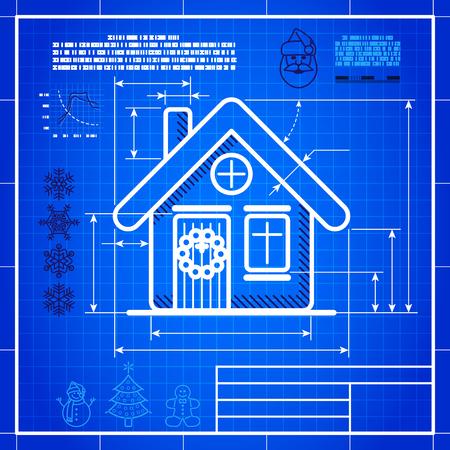 Christmas symbol stylized blueprint technical drawing. White symbol on blue grid background