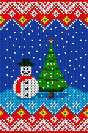 winter holiday: Christmas or New year knitted pattern. Winter holiday seamless knitted texture vector illustration Illustration